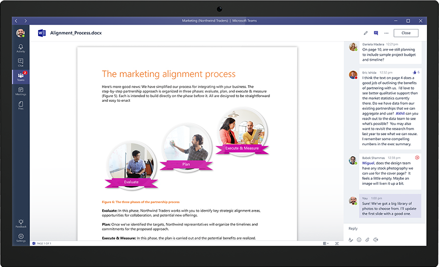 An example of collaborating on a Word document directly from Microsoft Teams.