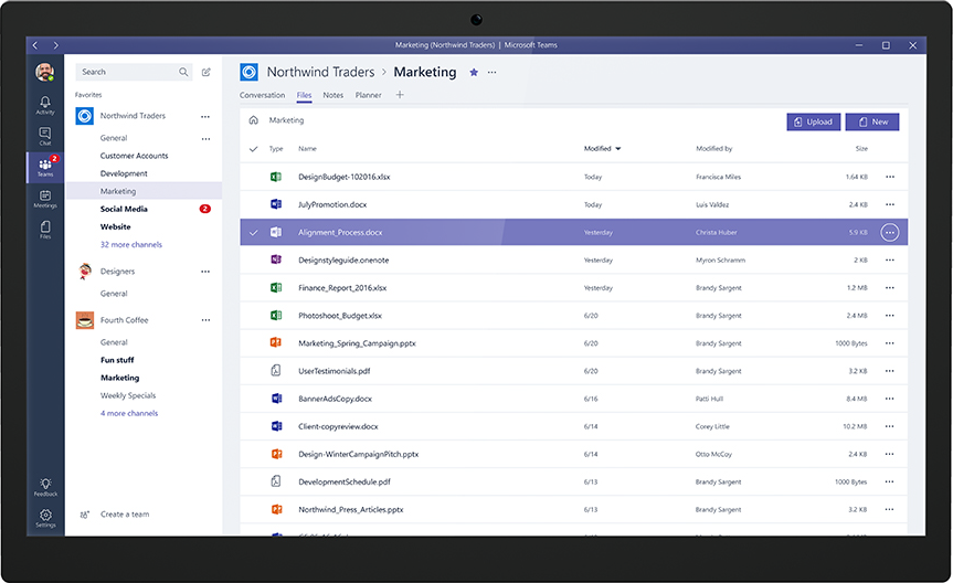 Full administration and management of files is possible within the Microsoft Teams environment.