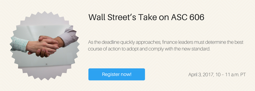Webinar: Wall Street's Take on ASC 606